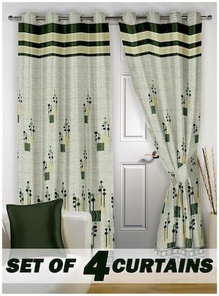 Story@Home Jacquard Door Semi Transparent Green Regular Curtain ( Eyelet Closure , Abstract , Pack of 4 )