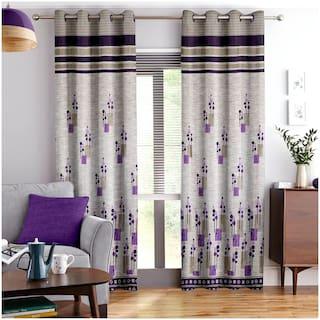 Story@Home Jacquard Door Semi Transparent Purple Regular Curtain ( Eyelet Closure , Abstract , Pack of 4 )