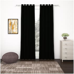 Story@Home 2 Pc Faux Silk Blackout Door Curtain-7 ft