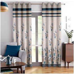 Story@Home Jacquard Door Semi Transparent Blue Regular Curtain ( Eyelet Closure , Abstract )