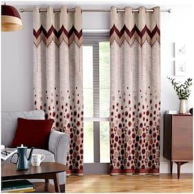 Story@Home Jacquard Window Semi Transparent Maroon Regular Curtain ( Eyelet Closure , Polka Dots , Pack of 2 )