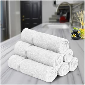 Story@Home 450 GSM Cotton Face Towel ( Pack of 6 , White )