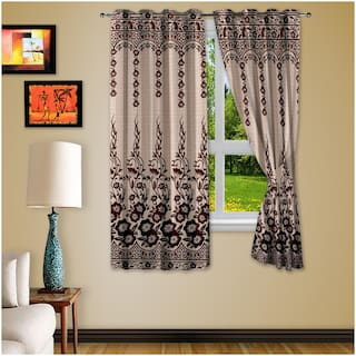 Story@Home Fancy 4 Piece Eyelet Cotton Window Ringtop Curtain Set5ft;Brown