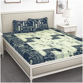 Story@Home Cotton Abstract King Size Bedsheet 240 TC ( 1 Bedsheet With 2 Pillow Covers , Blue )