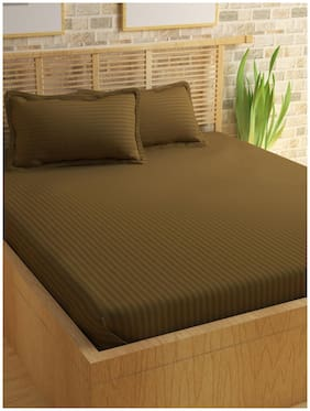 Story@Home Cotton Solid King Size Bedsheet 300 TC ( 1 Bedsheet With 2 Pillow Covers , Brown )