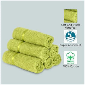 Story@Home 450 Cotton Face towel ( 6 pieces , Green )