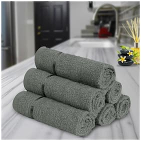 Story@Home 450 GSM Cotton Face Towel ( Pack of 6 , Grey )
