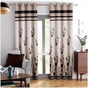 Story@Home Jacquard Window Semi Transparent Brown Regular Curtain ( Eyelet Closure , Abstract , Pack of 1 )