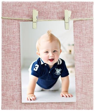Story@Home Jute Fabric Cover Dual Clip Photo Frame With Wooden Clip And Twine Rope