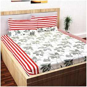Story@Home Cotton Floral Double Size Bedsheet 152 TC ( 1 Bedsheet With 2 Pillow Covers , White )