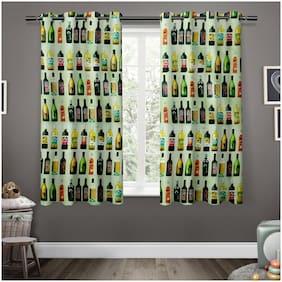 Story@Home Satin Window Semi Transparent Green Regular Curtain ( Eyelet Closure , Abstract )