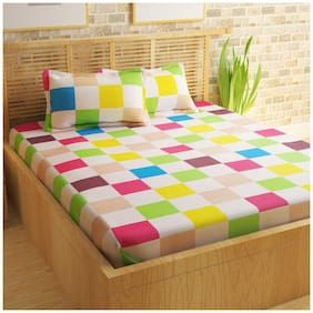 Story@Home Cotton Abstract Double Size Bedsheet 186 TC ( 1 Bedsheet With 2 Pillow Covers , Multi )