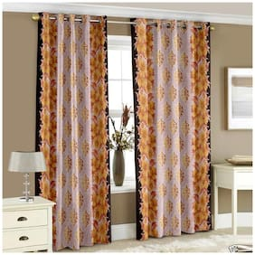 Story@Home Polyester Window Semi Transparent Yellow Regular Curtain ( Eyelet Closure , Floral )