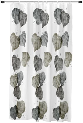 Story@Home PVC Door Semi Transparent Grey Shower Curtain ( Eyelet Closure , Floral , Pack of 1 )