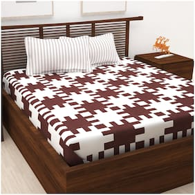 Story@Home 120 Abstract Flat King Bedsheet ( Brown , Pack of 3 )