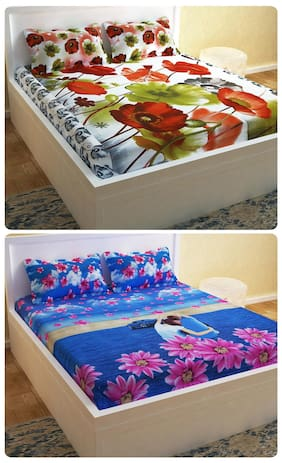 Story@Home Picasso  Set Of 2 Double Bedsheet With 4 Pillow Cover