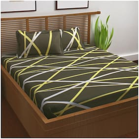 Story@Home 120 Geometric Flat King Bedsheet ( Green , Pack of 3 )