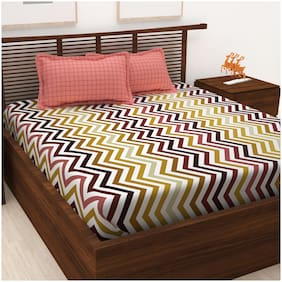 Story@Home 120 Geometric Flat King Bedsheet ( Multi , Pack of 3 )
