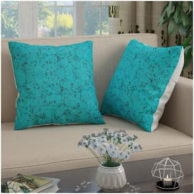 Story@Home Abstract Polyester Square Shape Blue Cushion Cover ( Regular , Pack of 2 )