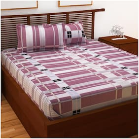 Story@Home Cotton Checkered Double Size Bedsheet 120 TC ( 1 Bedsheet With 2 Pillow Covers , Pink )