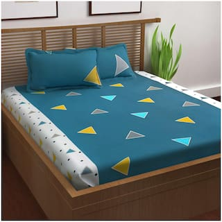 Story@Home Cotton Geometric Double Bedsheet ( 1 Bedsheet With 2 Pillow Covers , Blue )