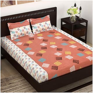 Story@Home Cotton Abstract Double Size Bedsheet 144 TC ( 1 Bedsheet With 2 Pillow Covers , Brown )