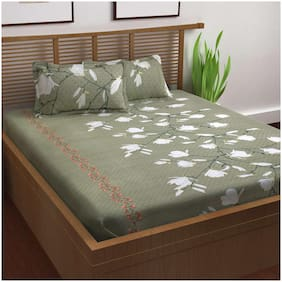 Story@Home 120 Floral Flat Double Bedsheet ( Grey , Pack of 3 )
