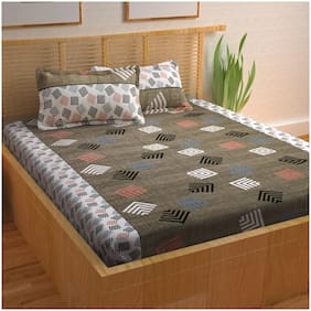 Story@Home 120 Abstract Flat Double Bedsheet ( Grey , Pack of 3 )