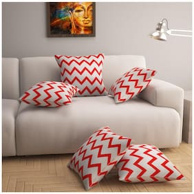 Story@Home Red Premium Printed Cushion Cover set of 5 pcs 16 x 16