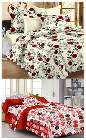 Story@Home combo of 1 double , 1 single bedsheet and 3 pillow covers