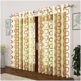 Story@Home Polyester Door Transparent Red Sheer Curtain ( Eyelet Closure , Abstract , Pack of 4 )