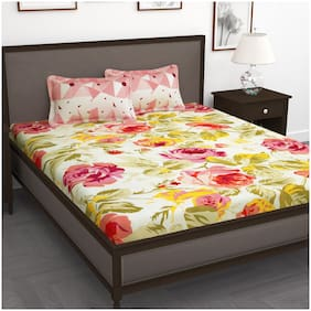 Story@Home Cotton Floral King Size Bedsheet 240 TC ( 1 Bedsheet With 2 Pillow Covers , Pink )