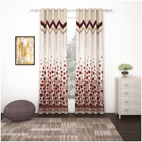 Story@Home Set of 2 Pcs Long Door Berry Curtain - 9ft
