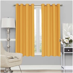 Story@Home Faux Silk Window Blackout Yellow Room Darkening Curtain ( Eyelet Closure , Plain , Pack of 2 )