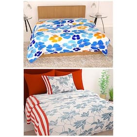 Story@Home  Micro Fiber and Flannel Feather 1 Single Dohar/AC Quilt with 1 single bedsheet , 1 pillow cover