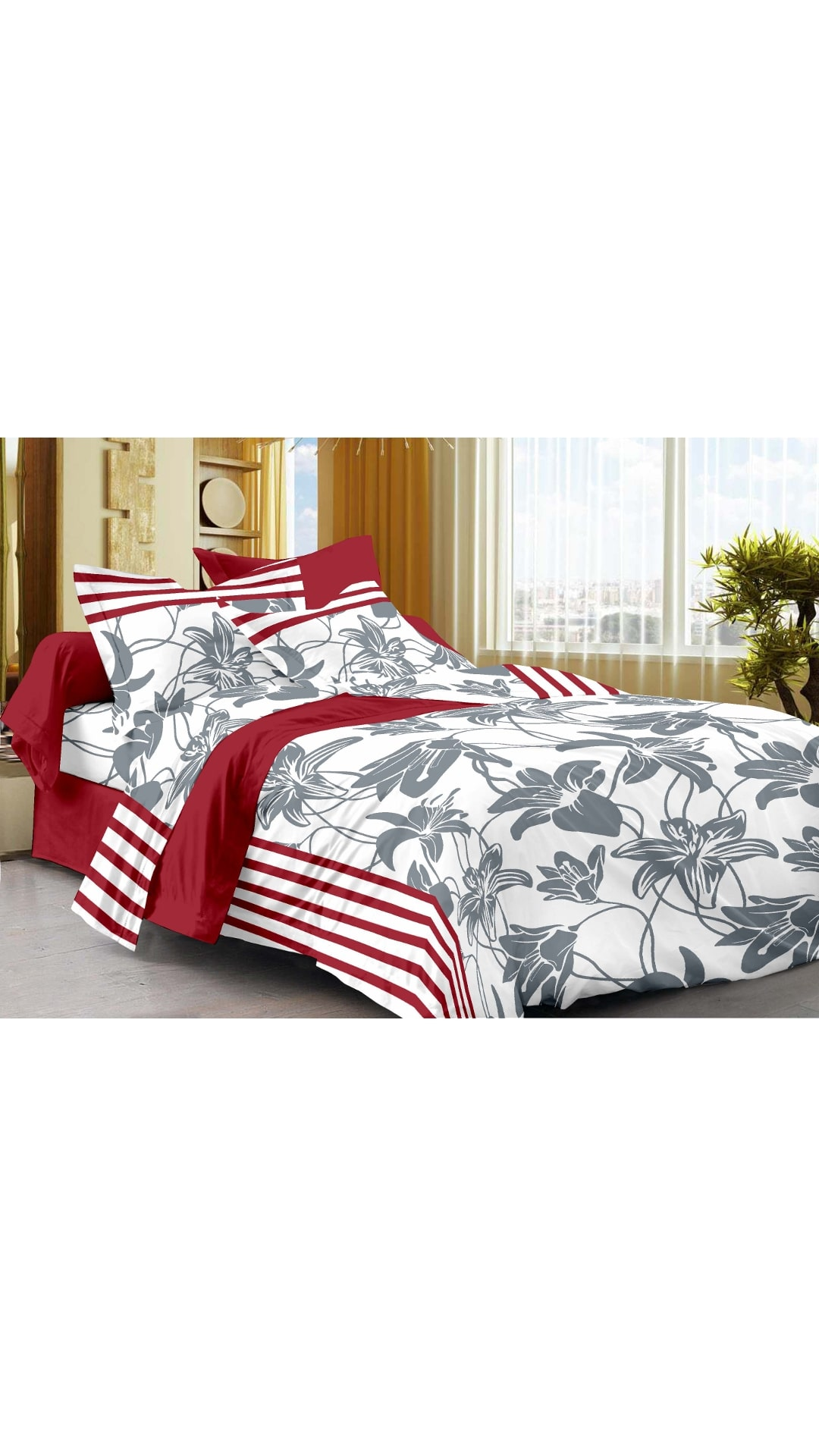 Story@Home Cotton Floral Single Size Bedsheet 208 TC   1 Bedsheet With 1 Pillow Covers , White