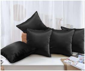 Story@Home Plain Polyester Black Cushion Cover ( Regular , Pack of 5 )