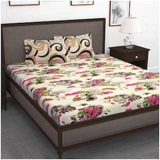 Story@Home Cotton Floral Double Size Bedsheet 250 TC ( 1 Bedsheet With 2 Pillow Covers , Cream )
