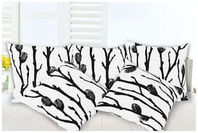 Story@Home Printed Cotton White Cushion Cover ( Regular , Pack of 5 )