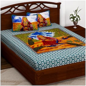 Story@Home Cotton Printed Double Size Bedsheet 152 TC ( 1 Bedsheet With 2 Pillow Covers , Blue )
