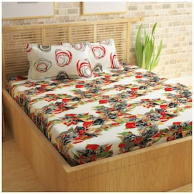Story@Home Cotton Floral Double Size Bedsheet 250 TC ( 1 Bedsheet With 2 Pillow Covers , Red )