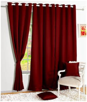 Story@Home 2 Pcs Faux Silk Blackout Window Curtain - 5ft