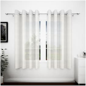 Story@Home Polyester Window Semi Transparent White Sheer Curtain ( Eyelet Closure , Striped )