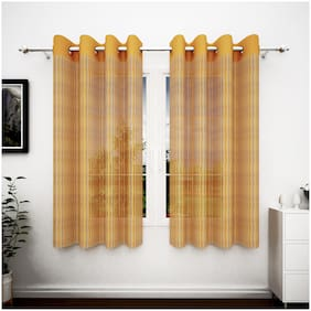 Story@Home Polyester Window Semi Transparent Yellow Sheer Curtain ( Eyelet Closure , Striped )