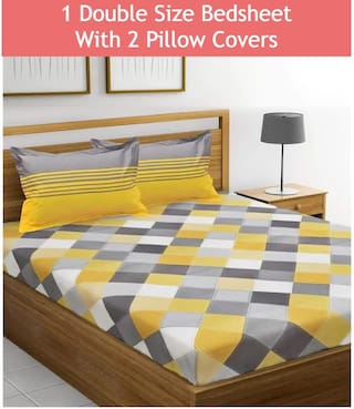 Story@Home Cotton Checkered Double Size Bedsheet 120 TC ( 1 Bedsheet With 2 Pillow Covers , Yellow )