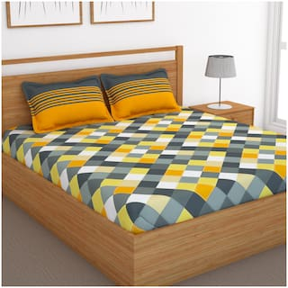 Bedspun Cotton Checkered Double Size Bedsheet 120 TC ( 1 Bedsheet With 2 Pillow Covers , Yellow )
