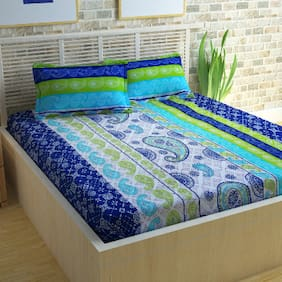 Story@Home Cotton Geometric Double Size Bedsheet 120 TC ( 1 Bedsheet With 2 Pillow Covers , Blue )