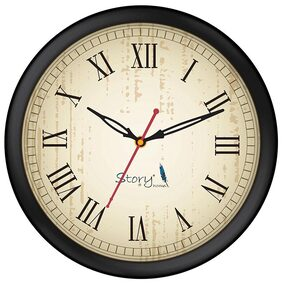 Story@home Round Shape Wall Clock (25 cm x 25 cm x 4 cm)  with Glass