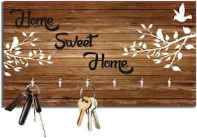 Studio Shubham Home Sweet Home Wooden Key Holder(23.4Cmx12.8Cmx3Cm)