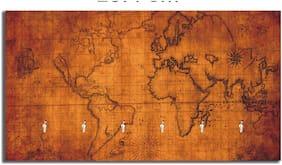 Studio Shubham Vintage World Map Wooden Key Holder(23.4Cmx12.8Cmx3Cm)